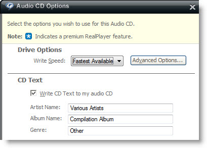 TuneClone burn CD text in RealPlayer