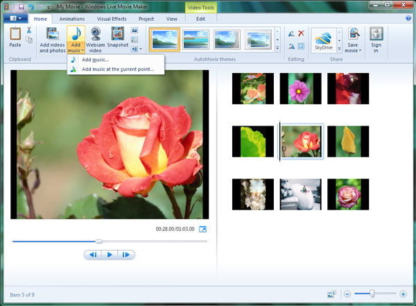insert iTunes music into Windows Live Movie Maker