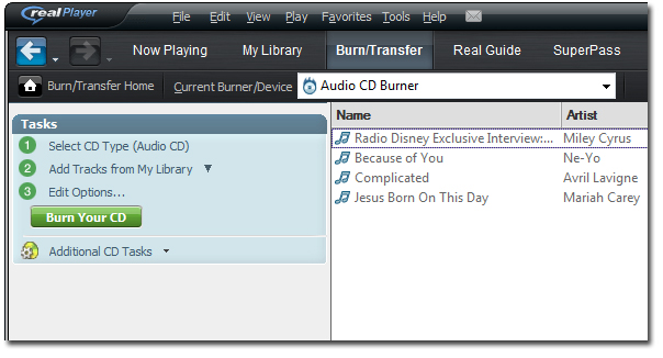 Set the Burn/Transfer Page at Realplayer