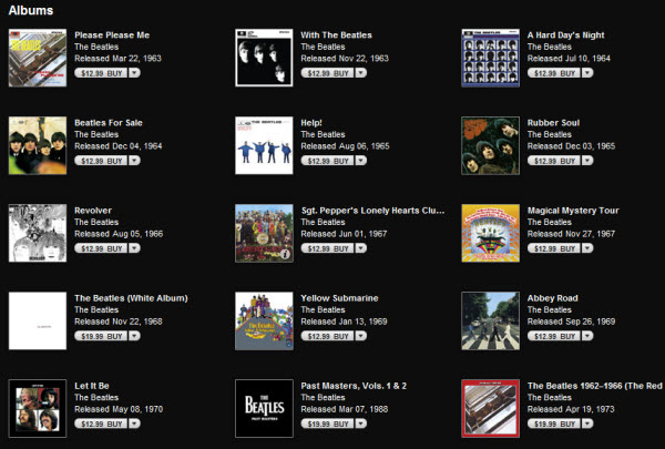 The Beatles music albums in iTunes 10